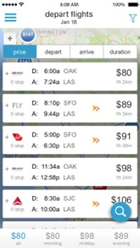 Cell phone showing flight options